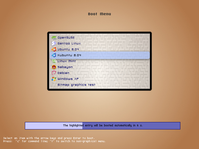 Proto theme showing boot menu