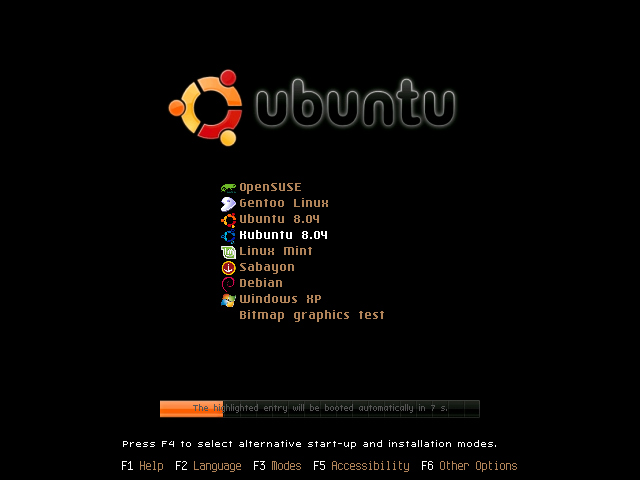 GRUB graphical menu: ubuntu1 theme